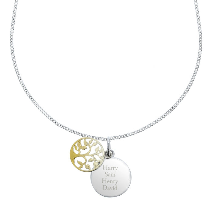 Personalised Sterling Silver &  Gold Family Tree Necklace - Personalised Gift From Personally Presented