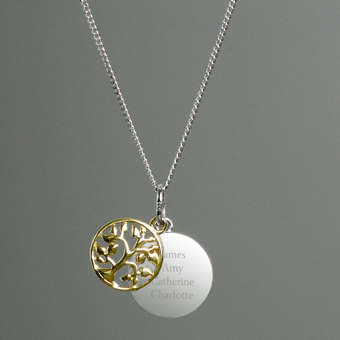 Personalised Sterling Silver &  Gold Family Tree Necklace