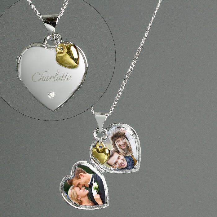 Personalised Sterling Silver Heart Locket Necklace with Diamond and Gold Charm