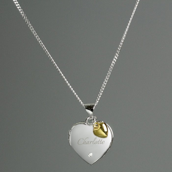 Personalised Sterling Silver Heart Locket Necklace with Diamond and Gold Charm - Personalised Gift From Personally Presented