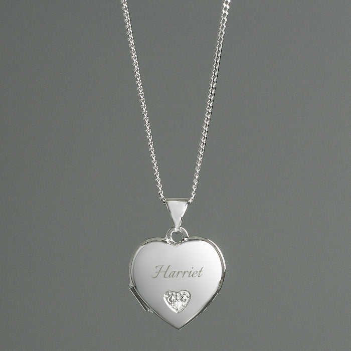 Personalised Children's Sterling Silver & Cubic Zirconia Heart Locket Necklace - Personalised Gift From Personally Presented