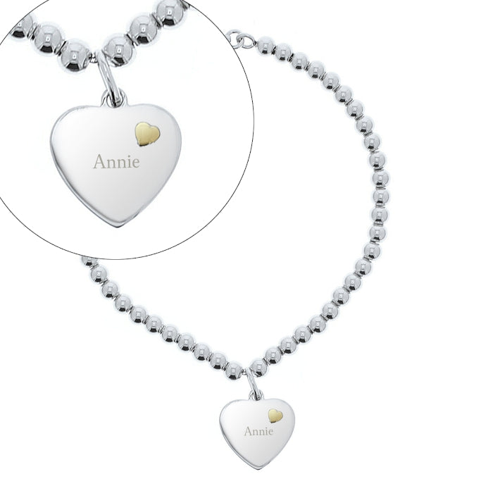 Personalised Sterling Silver and Gold Heart Bracelet - Personalised Gift From Personally Presented