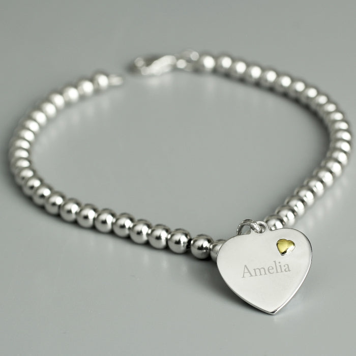 Personalised Sterling Silver and Gold Heart Bracelet