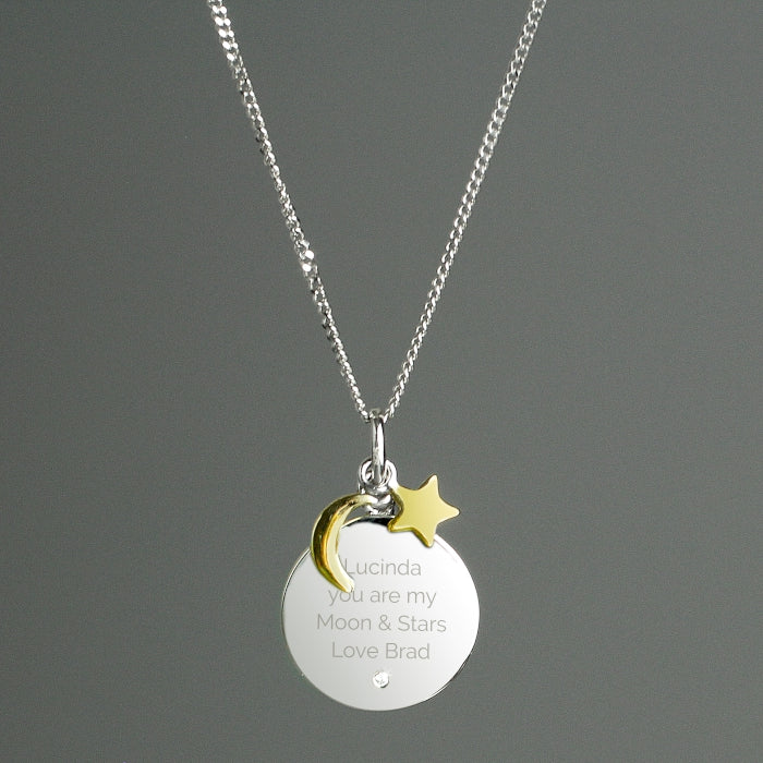 Personalised Moon & Stars Sterling Silver Necklace - Personalised Gift From Personally Presented