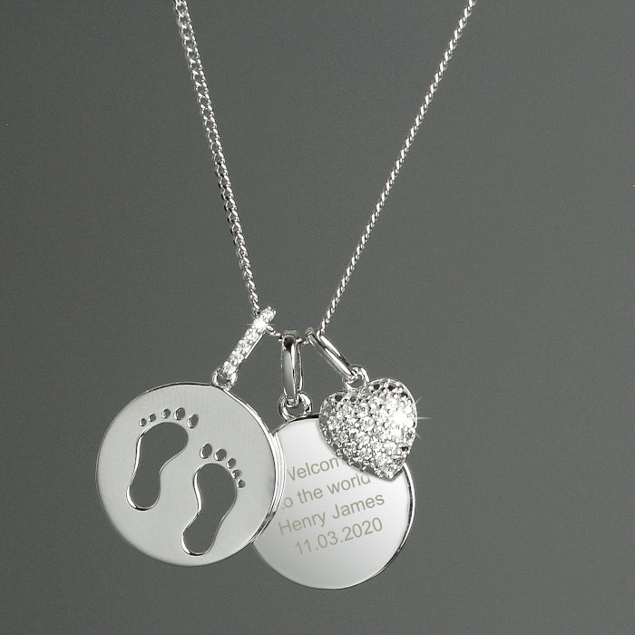 Personalised Sterling Silver Footprints and Cubic Zirconia Heart Necklace - Personalised Gift From Personally Presented