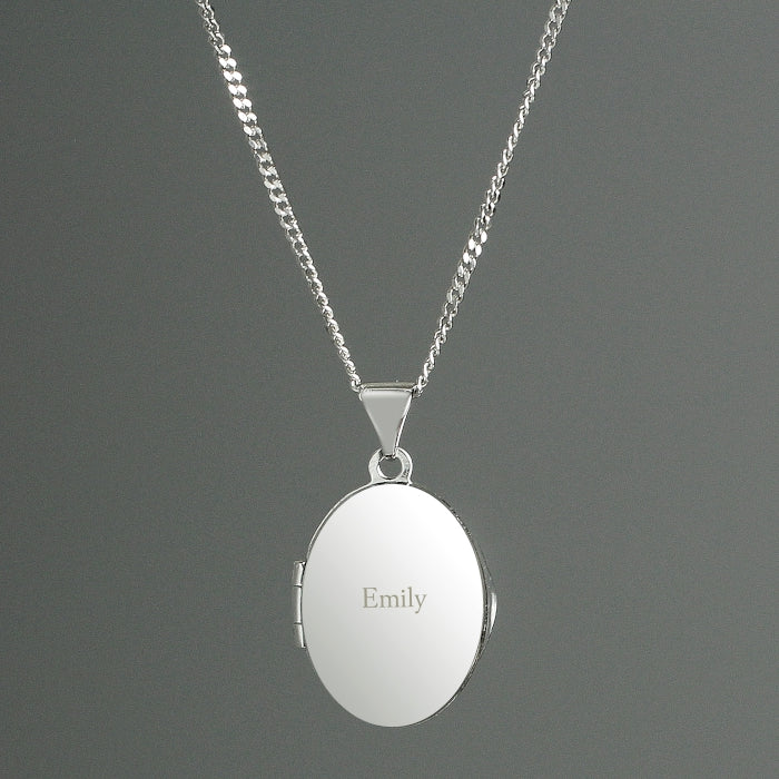 Personalised Name Sterling Silver Oval Locket Necklace - Personalised Gift From Personally Presented