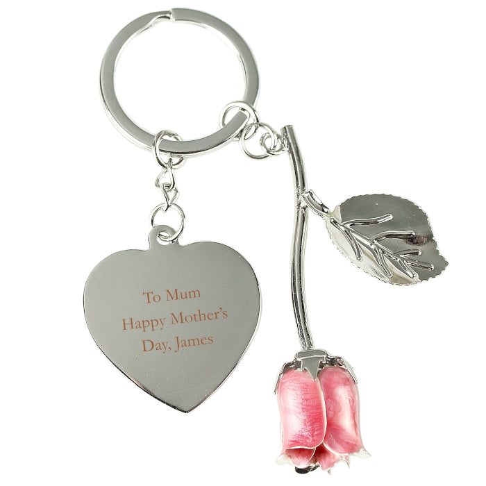 Personalised Silver Plated Pink Rose Keyring - Personalised Gift From Personally Presented