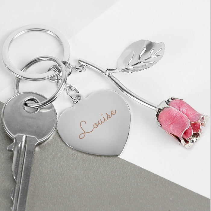 Personalised Silver Plated Name Pink Rose Keyring - Personalised Gift From Personally Presented