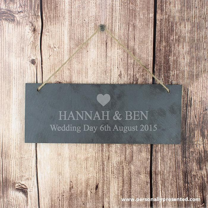 Personalised Heart Motif Hanging Slate Plaque - Personalised Gift From Personally Presented