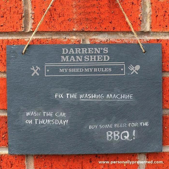 Personalised Man At Work Hanging Slate Sign