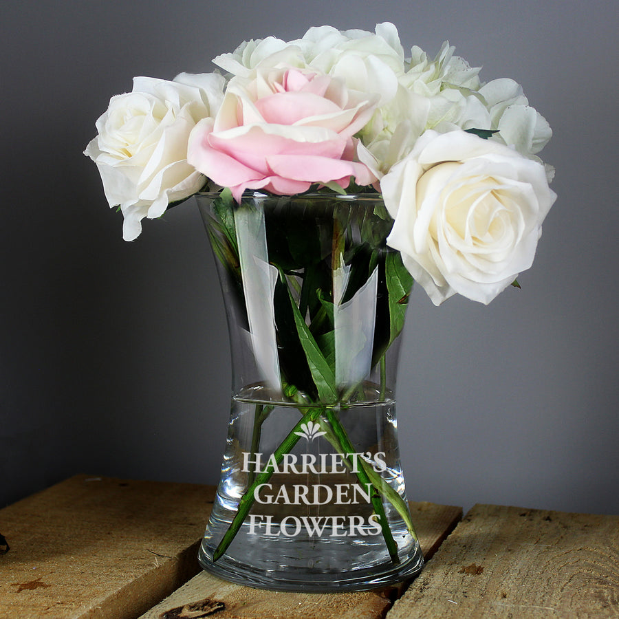Personalised Bold Font Glass Vase - Personalised Gift From Personally Presented