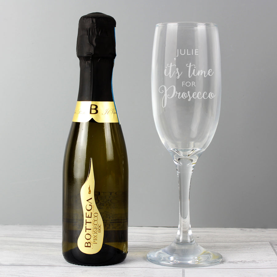 Personalised Its Time for Prosecco Flute & Mini Prosecco Set - Personalised Gift From Personally Presented