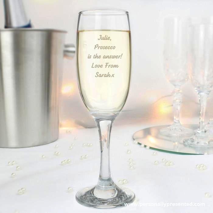 Personalised Any Message Prosecco Flute - Personalised Gift From Personally Presented