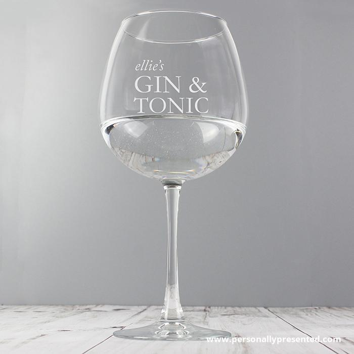 Personalised Gin & Tonic Balloon Glass - Personalised Gift From Personally Presented