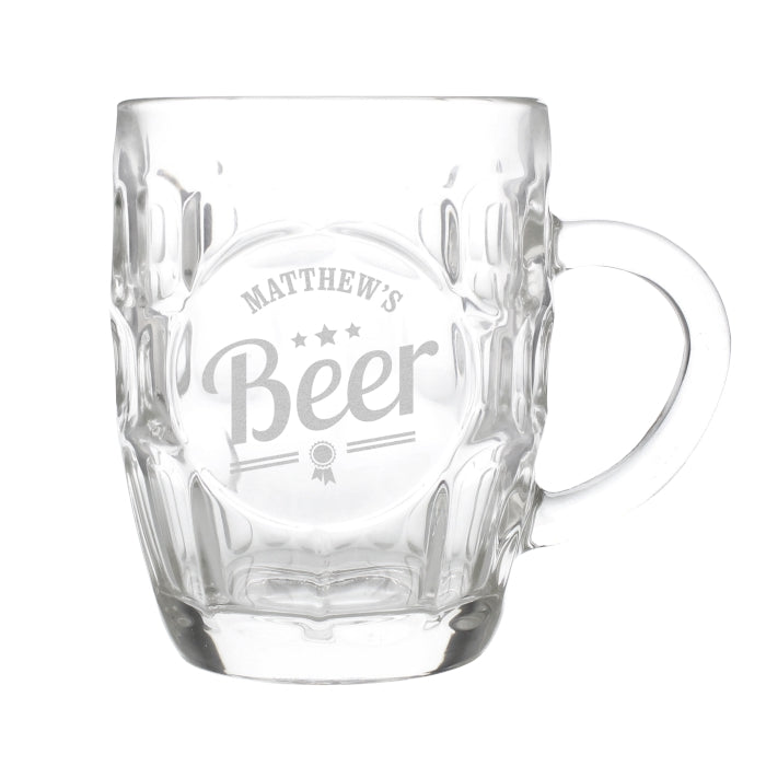 Personalised Beer Label Dimple Tankard Pint Glass - Personalised Gift From Personally Presented