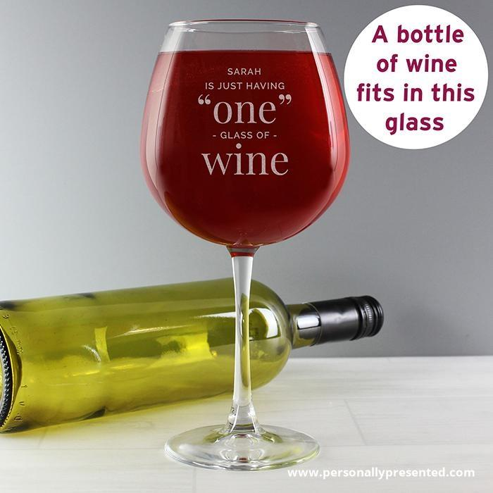 Personalised 'One Glass' Bottle of Wine Glass - Personalised Gift From Personally Presented