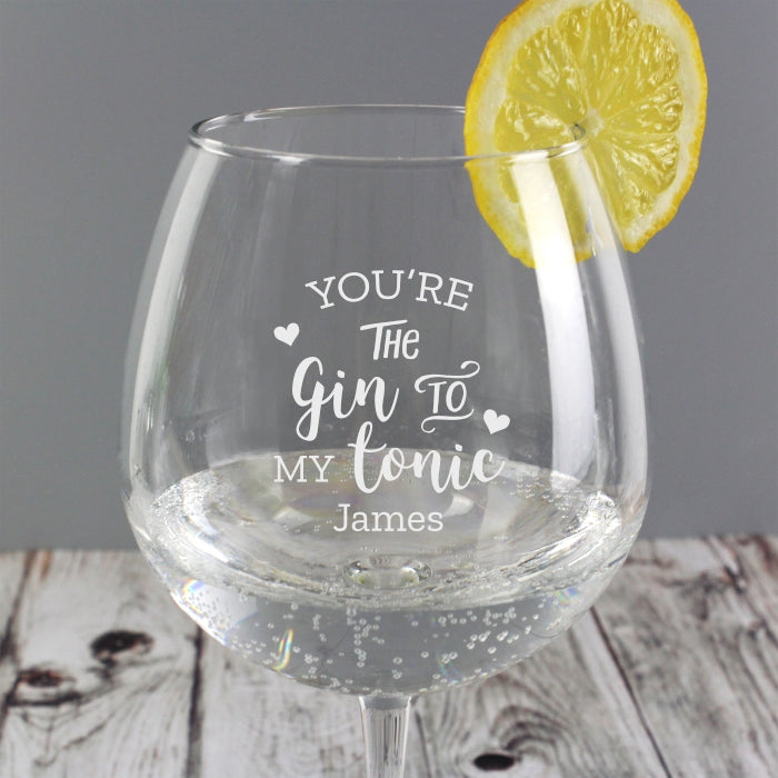 Personalised 'Gin to My Tonic' Gin Balloon Glass - Personalised Gift From Personally Presented