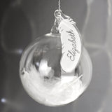 Personalised White Feather Glass Bauble - Personalised Gift From Personally Presented