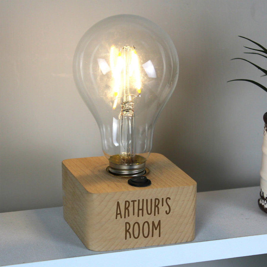 Personalised Free Text LED Bulb Table Lamp