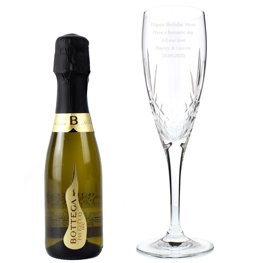Personalised Crystal and Miniature Prosecco Set - Personalised Gift From Personally Presented