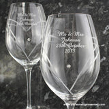 Personalised Hand Cut Diamante Heart Wine Glasses with Swarovski Elements - Personalised Gift From Personally Presented