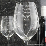 Personalised Hand Cut Little Hearts Diamante Wine Glasses with Swarovski Elements - Personalised Gift From Personally Presented