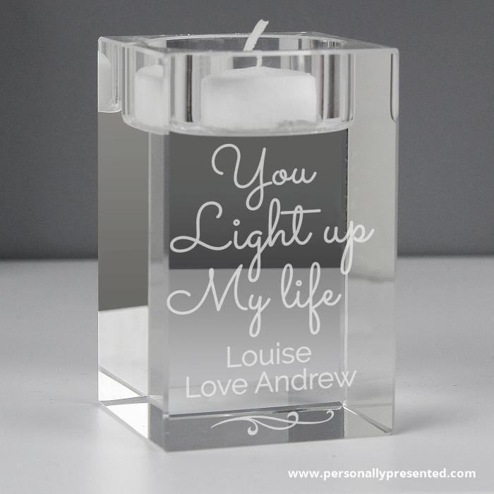 Personalised You Light Up My Life Glass Tea Light Holder - Personalised Gift From Personally Presented