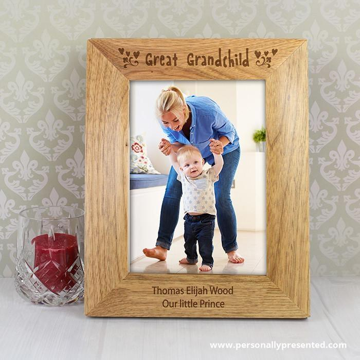 Personalised 6x4 Great Grandchild Wooden Photo Frame - Personalised Gift From Personally Presented