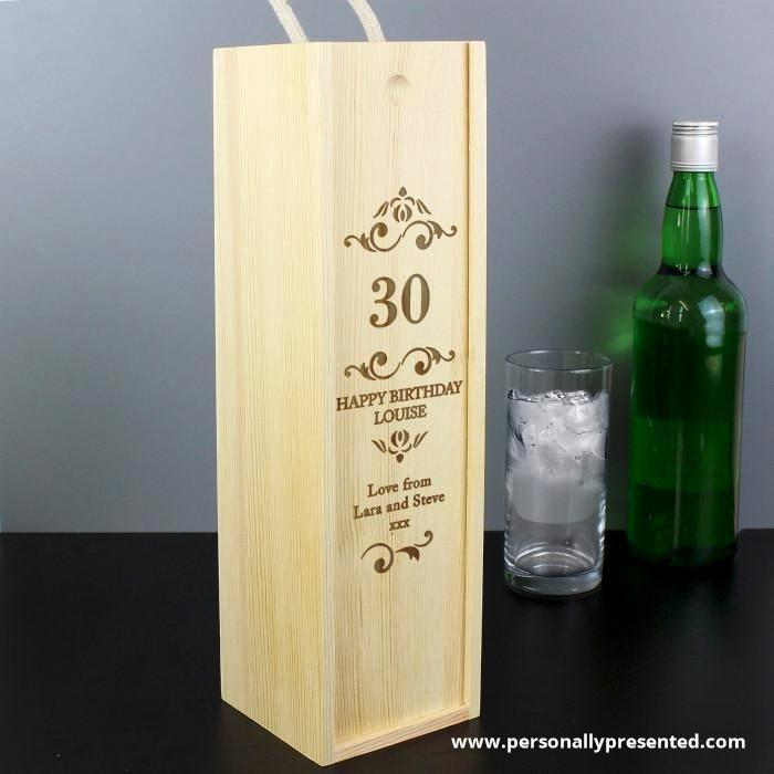 Personalised Elegant Number Bottle Presentation Box - Personalised Gift From Personally Presented