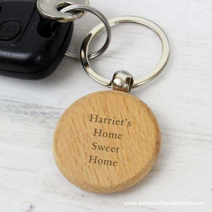 Personalised Wooden Keyring - Personalised Gift From Personally Presented