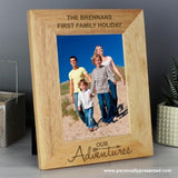Personalised Our Adventures 5x7 Wooden Photo Frame - Personalised Gift From Personally Presented