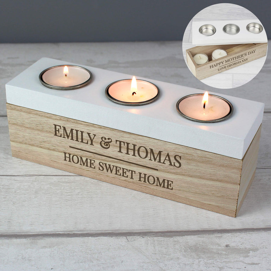Personalised Classic Triple Tea Light Box - Personalised Gift From Personally Presented