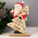 Personalised Santa Stop Here Wooden Santa Decoration - Personalised Gift From Personally Presented