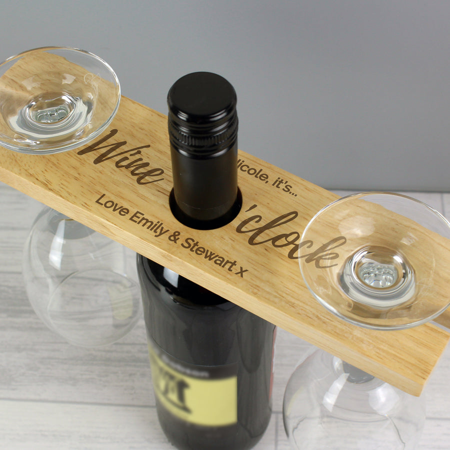 Personalised 'Wine O'clock' Wine Glass & Bottle Butler - Personalised Gift From Personally Presented