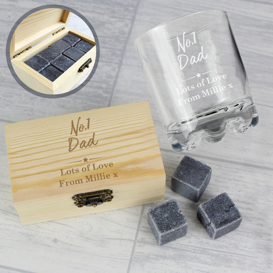 Personalised No.1 Whisky Stones & Glass Set - Personalised Gift From Personally Presented