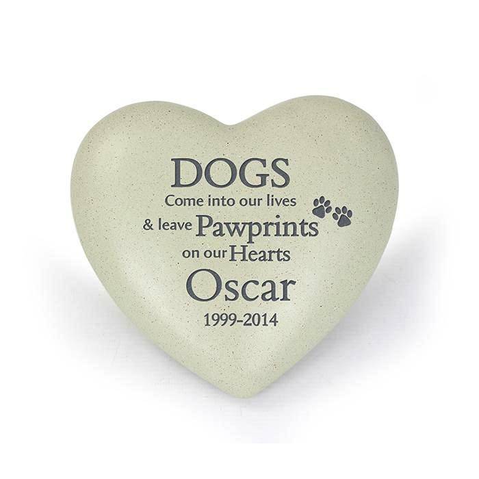 Personalised Dog Pawprints Heart Memorial - Personalised Gift From Personally Presented