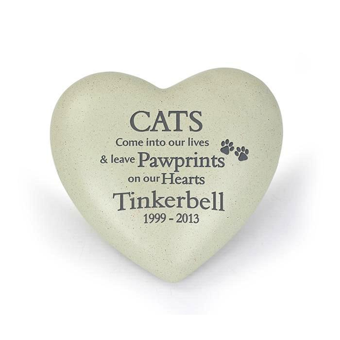 Personalised Cat Pawprints Heart Memorial - Personalised Gift From Personally Presented