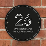 Personalised Black Number & Name House Sign - Personalised Gift From Personally Presented