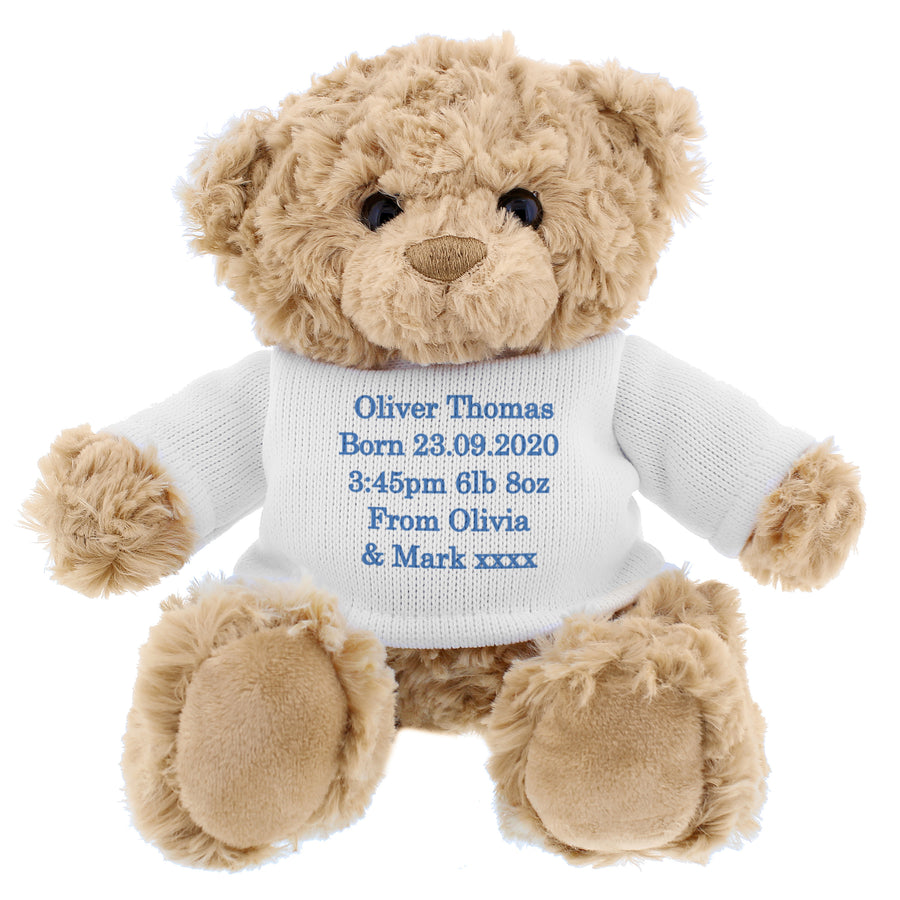 Personalised Blue Teddy Bear - Write Your Own Message