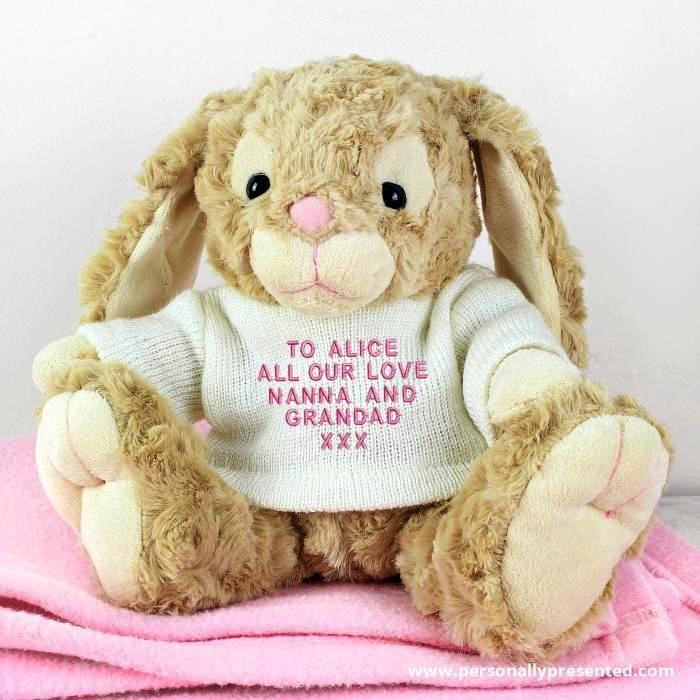 Personalised Message Bunny - Pink Embroidery - Personalised Gift From Personally Presented