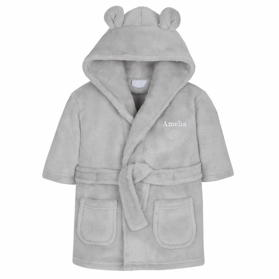 Personalised 0-6 Months Grey Bear Ears Hooded Baby Dressing Gown - Personalised Gift From Personally Presented