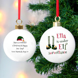Personalised Elf Surveillance Bauble - Personalised Gift From Personally Presented