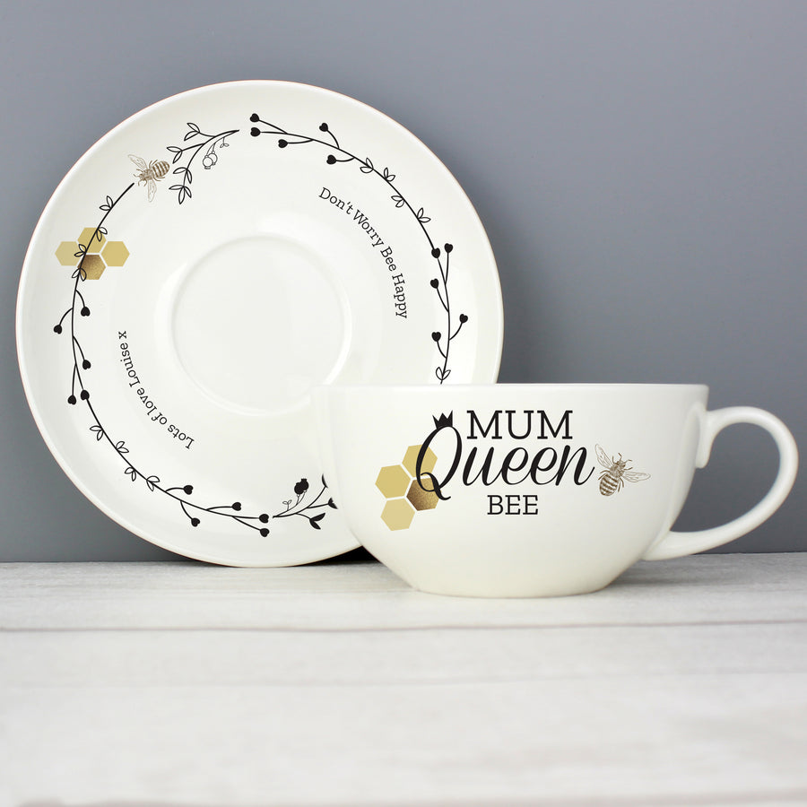 Personalised Queen Bee Teacup & Saucer - Personalised Gift From Personally Presented