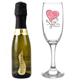 Personalised Love Heart Flute & Miniature Prosecco Set - Personalised Gift From Personally Presented