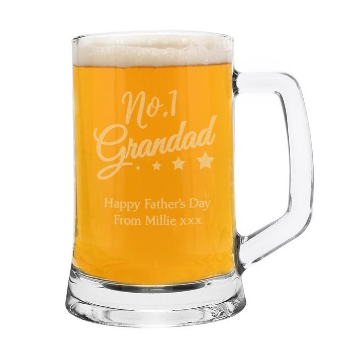 Personalised 'No.1 Grandad' Glass Pint Stern Tankard - Personalised Gift From Personally Presented