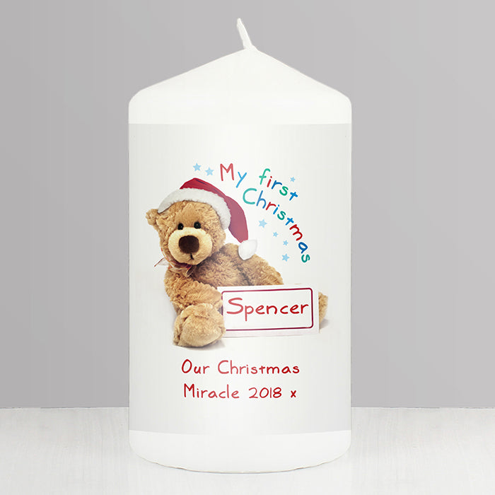 Personalised Teddy 1st Christmas Candle - Personalised Gift From Personally Presented