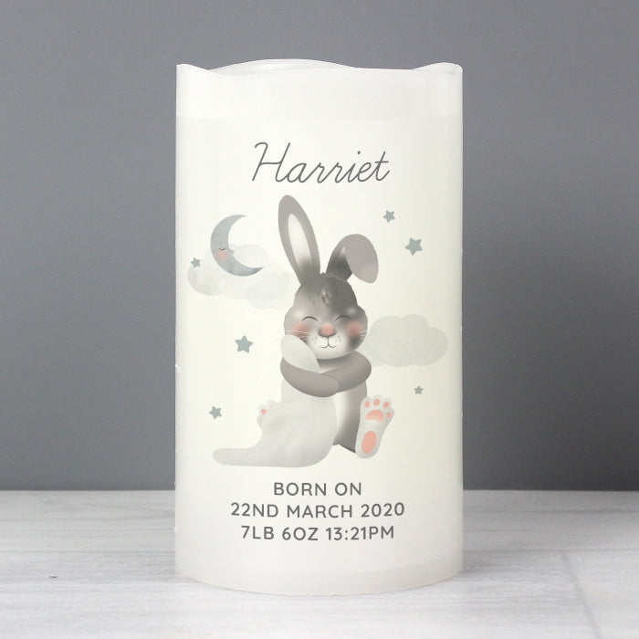 Personalised Baby Bunny LED Candle - Personalised Gift From Personally Presented