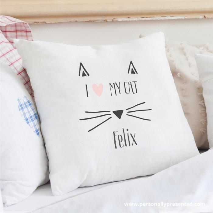 Personalised Cat Features Cushion Cover - Personalised Gift From Personally Presented