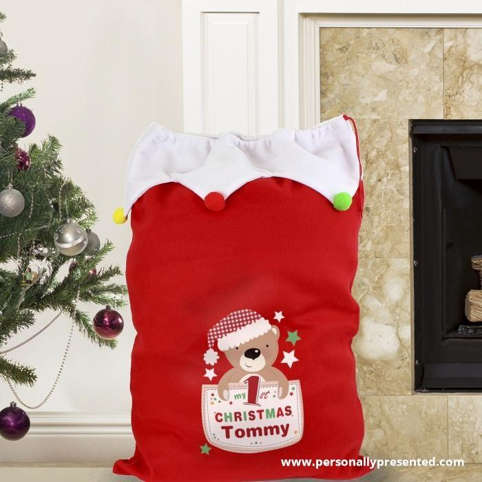 Personalised Pocket Teddy My 1st Christmas Pom Pom Sack - Personalised Gift From Personally Presented