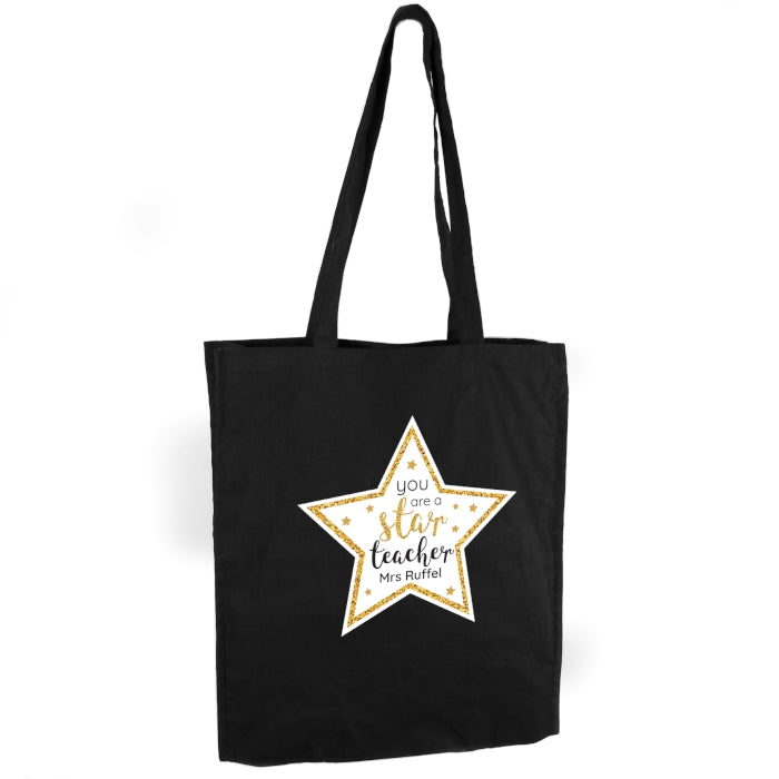 Personalised Star Teacher Black Cotton Bag - Personalised Gift From Personally Presented